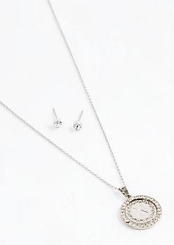 Initial K Medallion Jewelry Set