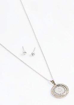 Initial C Medallion Jewelry Set