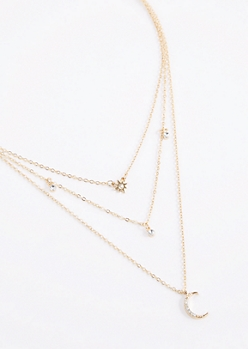 Diamante Moon Triple Chain Necklace