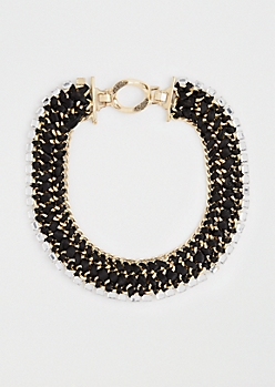 Gem Stone Braided Collar Necklace