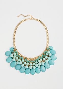 Turquoise Teardrop Curtain Necklace