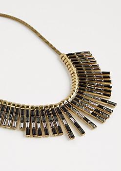 Stone Bar Fringe Necklace