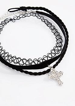 Goth Diamante Cross Choker Set