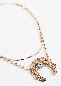 Antique Filigree Crescent Necklace