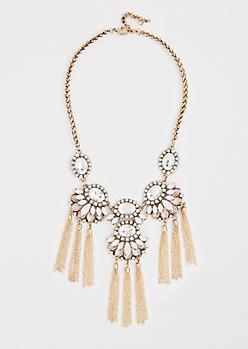 Floral Gemstone Fringe Necklace