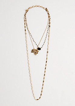 Dark Gemstone Boho Glam Necklace