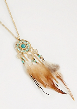 Feathered Dreamcatcher Necklace