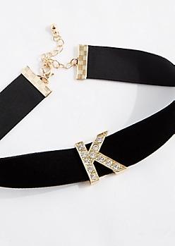 Diamante K Velvet Choker