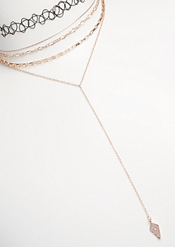 5-Pack Rose Gold Diamond Drop Choker Set