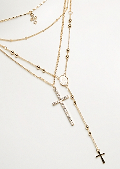 4-Pack Gold Cross & Rosary Necklace Set