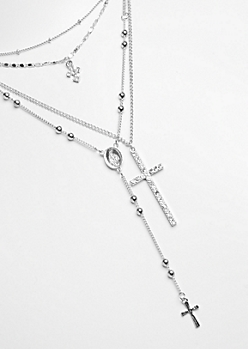 4-Pack Silver Cross & Rosary Necklace Set