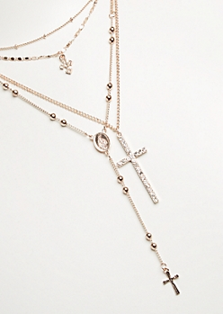4-Pack Rose Gold Cross & Rosary Necklace Set