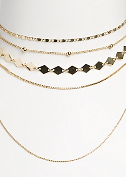 4-Pack Gold Geometrical Choker Set