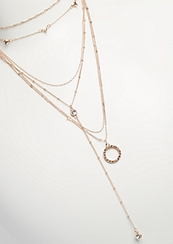 6-Pack Rose Gold Mixed Chain Necklace Set
