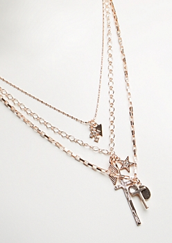 3-Pack Rose Gold Crosses & Pendants Necklace Set