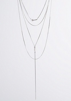 Silver Love Script Layered Necklace