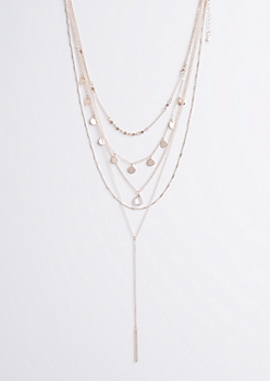 Rose Gold Metallic Layered Necklace