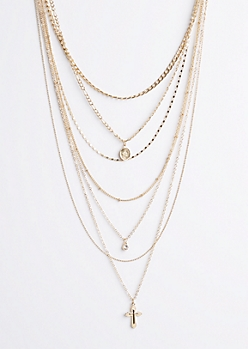 Gold Metallic Layered Necklace