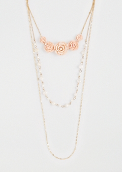 Tiered Roses Necklace Trio