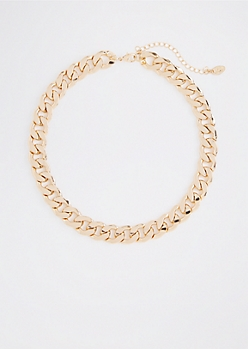 Gold Tone Chunky Wheat Chain Necklace