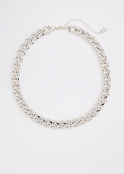Silver Tone Chunky Wheat Chain Necklace