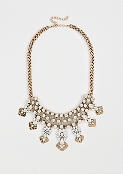 Floral Gemstone Burst Necklace
