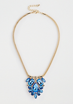 Blue Stone Cluster Necklace