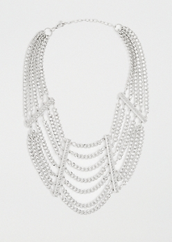 Tiered Chain-Link Collar Necklace