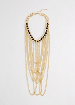 Beaded Chain-Link Drop Necklace