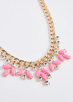 Pink Gem Drop Necklace