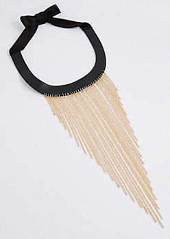 Chain-Link Fringe Collar Necklace