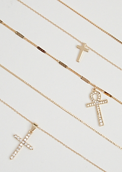 5-Pack Mixed Cross Necklace Set