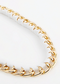 White Wrapped Cuban Link Necklace