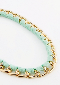 Mint Wrapped Cuban Link Necklace