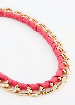 Fuchsia Wrapped Cuban Link Necklace