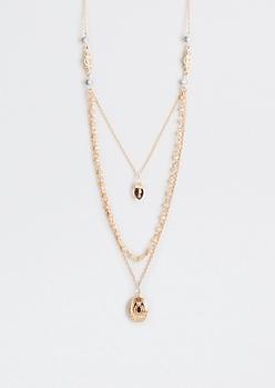 Vintage Locket Tri-Layered Necklace