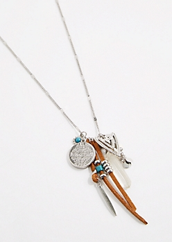 Boho Arrowhead Cluster Charm Necklace