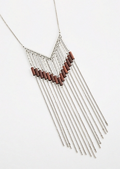 Wood Beaded Fringe Curtain Necklace