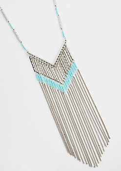 Turquoise Beaded Fringe Curtain Necklace