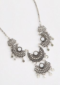 Tribal Gem Jointed Statement Necklace