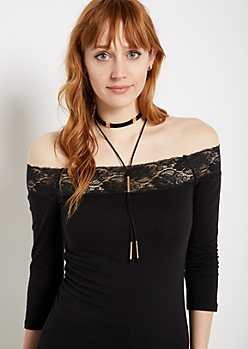 Black Layered Lariat Drop Necklace