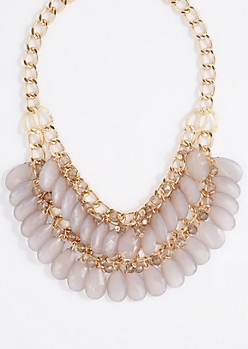 Gray Teardrop Gem Double Row Necklace