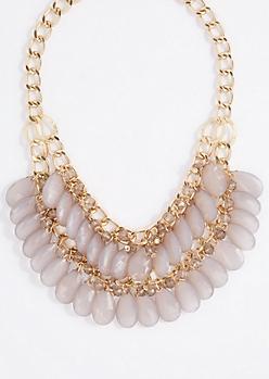 Gray Teardrop Gem Double Row Necklace