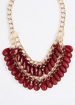 Burgundy Teardrop Gem Double Row Necklace