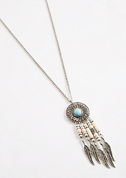 Beaded Dreamcatcher Pendant Necklace