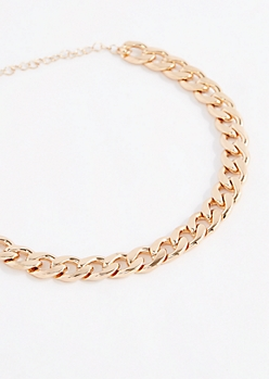Gold Tone Wheat Chain Choker