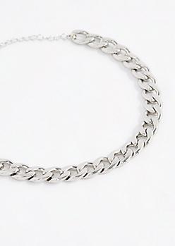 Silver Tone Wheat Chain Choker
