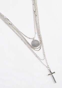 Cross Pendant Multi Chain Necklace