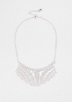 Faux Silver Flattened Statement Necklace