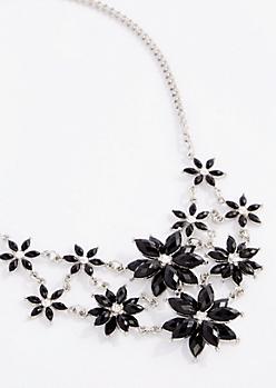Black Daisy Burst Statement Necklace